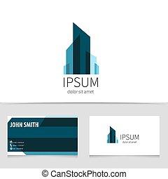 edificio, ciudad, concepto, illustration., empresa / negocio, company., logotype, creativo, vector, diseño, moderno, logotipo, template., su, tarjeta