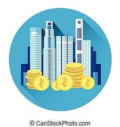 edificio, ciudad, concepto, industria, inversión, icono