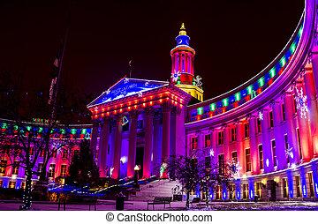 edificio, ciudad, condado de denver, luces, feriado