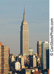 edificio, ciudad, estado, manhattan, york, nuevo, imperio,...