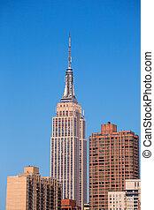 edificio, ciudad, estado, york, nuevo, imperio, manhattan