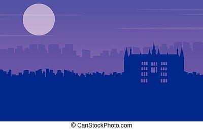 edificio, ciudad, guidhall, paisaje, siluetas, londres