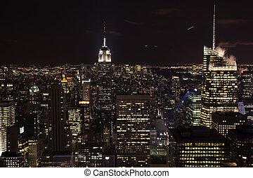 edificio, ciudad, río, contorno, estado, york, noche, nuevo, imperio, este