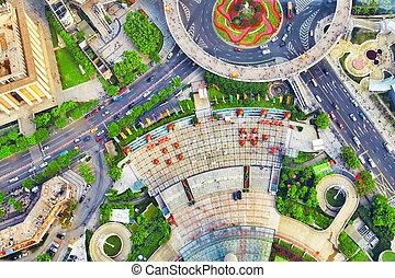 edificio, ciudad, rascacielos, shanghai, china., pudong