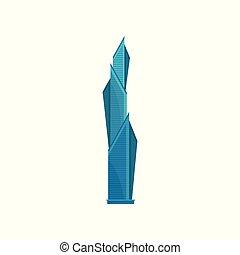 edificio, ciudad, residencial, moderno, ilustración, vector, plano de fondo, rascacielos, blanco