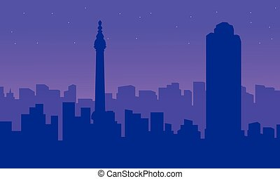 edificio, ciudad, silueta, paisaje, londres