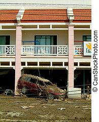 edificio, coche, aplastado