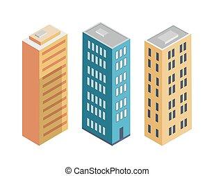 edificio, colección, cartel, vector, ilustración