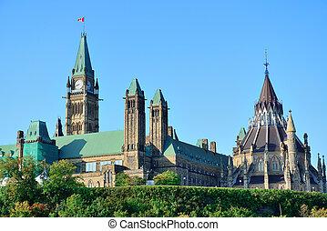 edificio, colina del parlamento, ottawa
