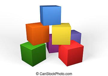 edificio, colorido, bloques, 3d