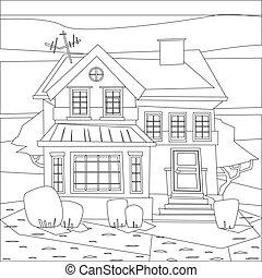 edificio, colorido, casa, ilustración, catroon, vector