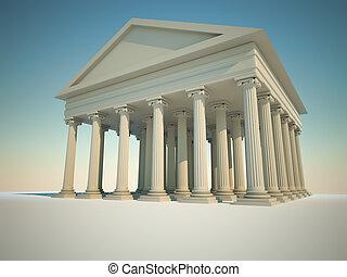 edificio, columnas romanas
