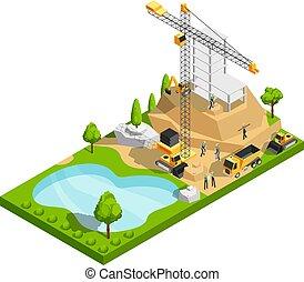 edificio comercial, construcción, 3d, isométrico, vector, concepto, para, arquitectura, sitio, diseño