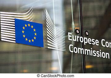 edificio, comisión, funcionario, europeo, entrada