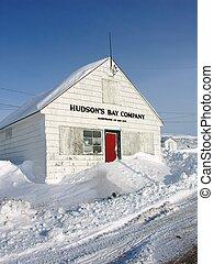 edificio, compañía, bahía de hudson