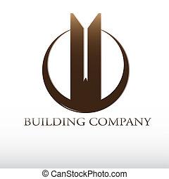 edificio, compañía, logotipo