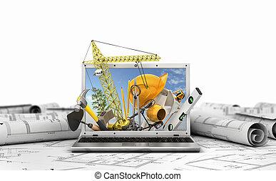 edificio, concepto, computador portatil, screen.,...