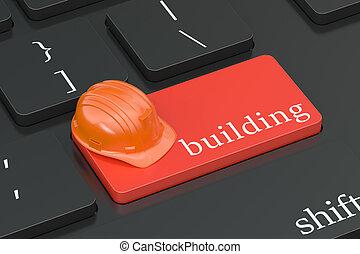 edificio, concepto, en, teclado, botón