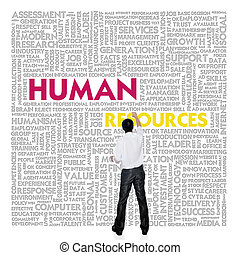 edificio, concepto, palabra, empresa / negocio, nube, recursos humanos, hombre