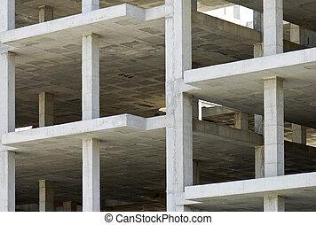 edificio, concreto, hecho, losas, precast