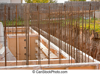 edificio, concreto, sitio, fundación, formwork