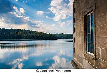 edificio, condado, depósito, maryland., reflexiones, ...