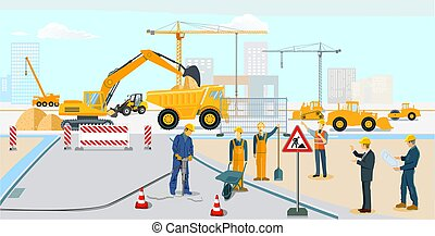 edificio, construcción de carreteras, construction.eps