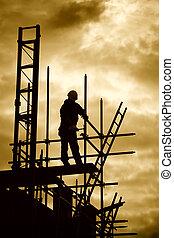 edificio, constructor, andamio, sitio