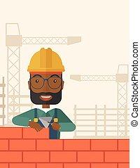 edificio, constructor, wall., negro, hombre ladrillo
