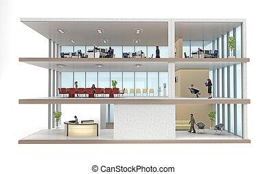 edificio, cutaway, blanco, aislado, oficina
