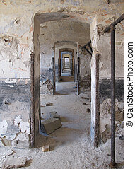 edificio, dañado, viejo, vendimia, yeso, arruinado, paredes,...