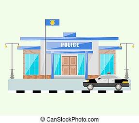 edificio, de, comisaría, con, un, coche., vector, aislado, object.