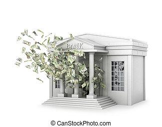 edificio, de, el, banco, de, cuál, el, dinero, flies., 3d, ilustración