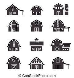 edificio de granja, conjunto, icono