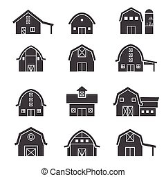edificio de granja, icono, conjunto