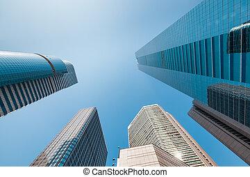 edificio de oficinas, debajo, el, cielo azul