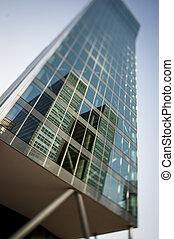 edificio de oficinas, reflejar, distrito
