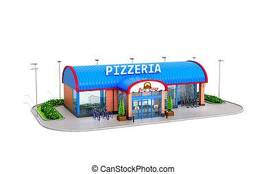 edificio, de, pizzeria, en, un, blanco, fondo., 3d, ilustración