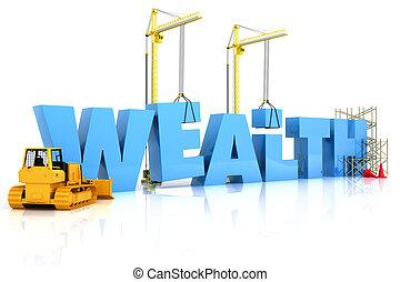 edificio, debajo, riqueza, construcción