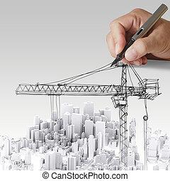 edificio, desarrollo, concepto