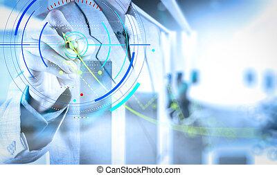 edificio, desarrollo, concepto, trabajando, exposición, computadora, interfaz, nuevo, ingeniero