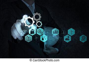 edificio, desarrollo, concepto, trabajando, exposición, mano, computadora, hombre de negocios, interfaz, nuevo