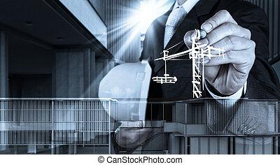 edificio, desarrollo, concepto, trabajando, exposición, mano...