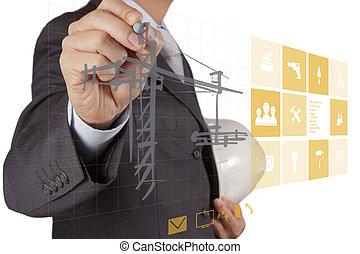 edificio, desarrollo, concepto, trabajando, exposición, mano, computadora, interfaz, nuevo, ingeniero