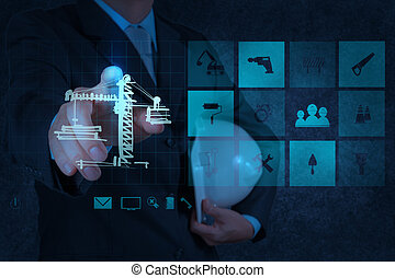 edificio, desarrollo, engineern, concepto, trabajando, exposición, mano, computadora, interfaz, nuevo