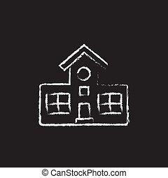 edificio, dibujado, icono, chalk.