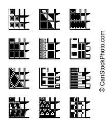 edificio, diferente, tipos, fachadas