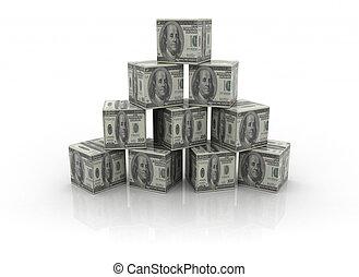 edificio, dinero, bloques