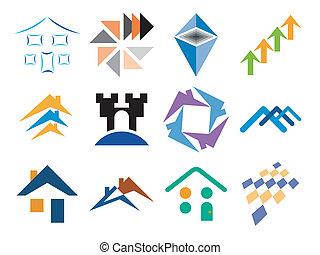 edificio, diseños, vector, themed
