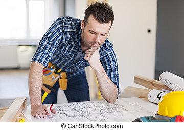 edificio, doblando, planes, encima, contratista, hogar